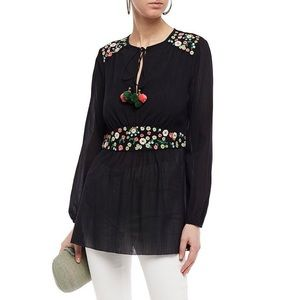 Tory Burch Tunic Black Floral Embroidered Tassel
